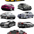 Eight  cars on the road. Vector illustra - Imagen vectorial