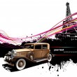 Old car with Paris image background. Vec - Stock Vector