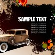 Grunge background with old car image. Ve — Imagen vectorial