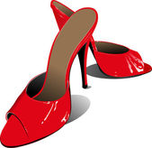 Fashion woman red shoes. Vector illustra — Stock Vector