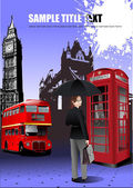 London images background. Vector illustr — Stock Vector