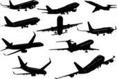 Diez siluetas de avión. vector ilust — Vector de stock