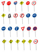Twenty four traffic road sign symbols. V — Stock Vector