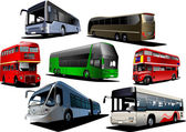 Seven types of bus. Vector illustration — Stock Vector