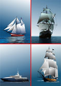 Four old sailing vessels. Vector illustr — Stock Vector