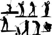 Eight golfer silhouettes — Stock Vector