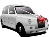 Wedding white car. Vector illustration — Stock Vector