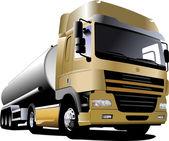 Yellow truck on the road. Vector illustr — Stock Vector