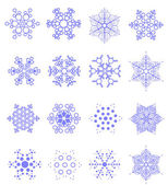 Sixteen snowflakes as winter design elem — Stock Vector