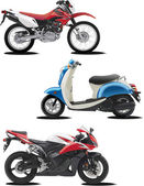 Three vector illustrations of motorcycle — Stock Vector