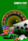 Casino elements with sport car image. Ve — Vettoriale Stock