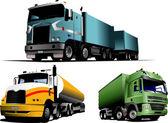 Green, blue and yellow trucks on the ro — Stockvektor