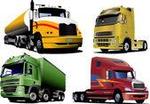Four trucks on the road. Vector illust — Stock Vector