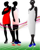 Women and men silhouettes. Vector illust — Stock Vector
