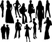 Women silhouettes. Vector illustration — Stock Vector