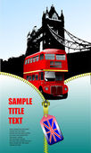 London images with open zipper and doubl — Stock Vector