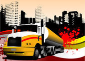 Abstract urban background with lorry ima — Stock Vector