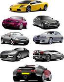 Huit voitures sur la route. vecteur illustra — Vecteur
