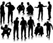 Handsome men silhouettes — Stock Vector