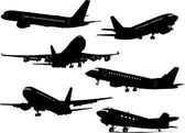 Six Airplane silhouettes . Vector illust — Stock Vector