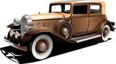 Old car. Sedan. — Stock Vector