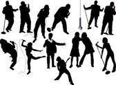 Thirteen singer silhouettes. Vector illu — Stock Vector