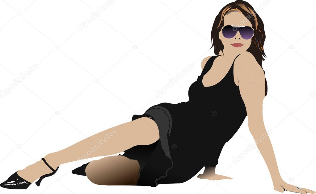 Laying woman in black dress. Vector illustration  Stock Vector #1112967