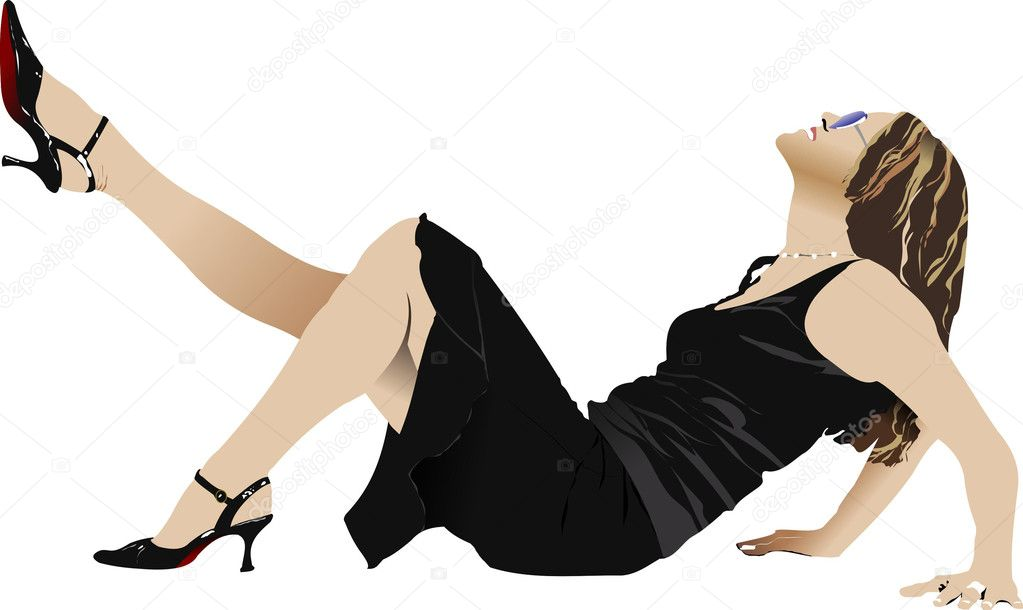 Laying woman in black dress. Vector illustration — Stock Vector #1112968