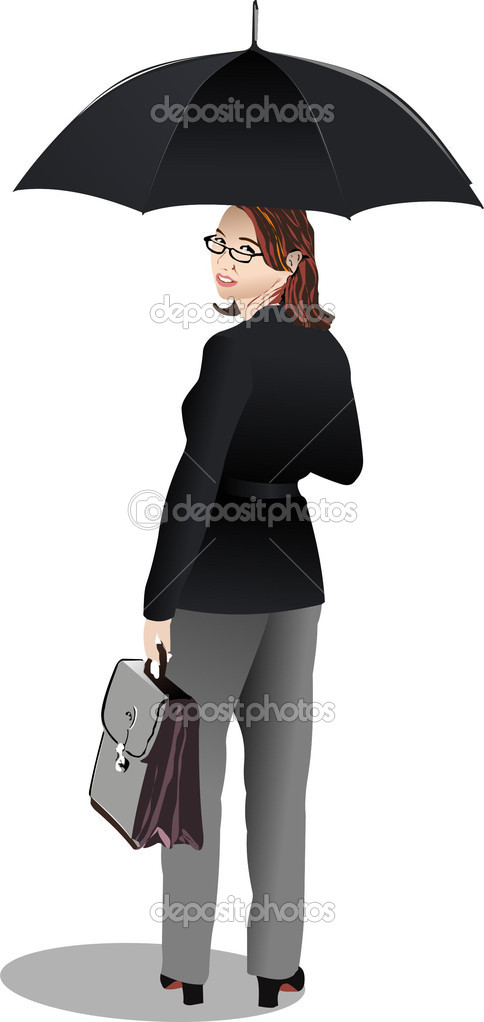 Business woman with umbrella. Vector illustration — Stock Vector #1112978