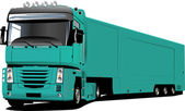 Colored Vector illustration of truck. He — Vettoriale Stock