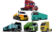 Colored Vector illustration of trucks. H — Stock Vector
