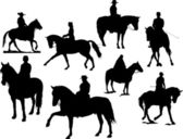Eight horse rider silhouettes — Stock Vector