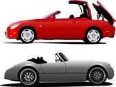 Cabriolet de dos autos en la carretera. vector — Vector de stock
