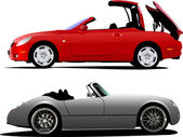 Two cars cabriolet on the road. Vector — Vecteur
