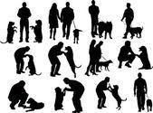 Silhouettes with dog — Wektor stockowy
