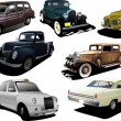 Stock Vector: Seven old rarity cars
