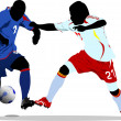 Stock Vector: Soccer players