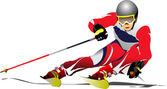 Immagine di sciatore — Vettoriale Stock
