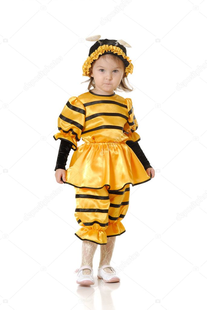 The little girl in dress of a bee on a white background — Stock Photo #1639765