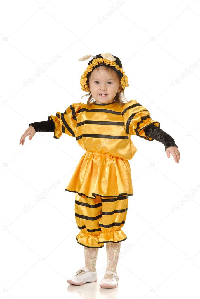 The little girl in dress of a bee on a white background — Stock Photo #1639787