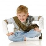 el niño con una bolsa de — Foto de Stock