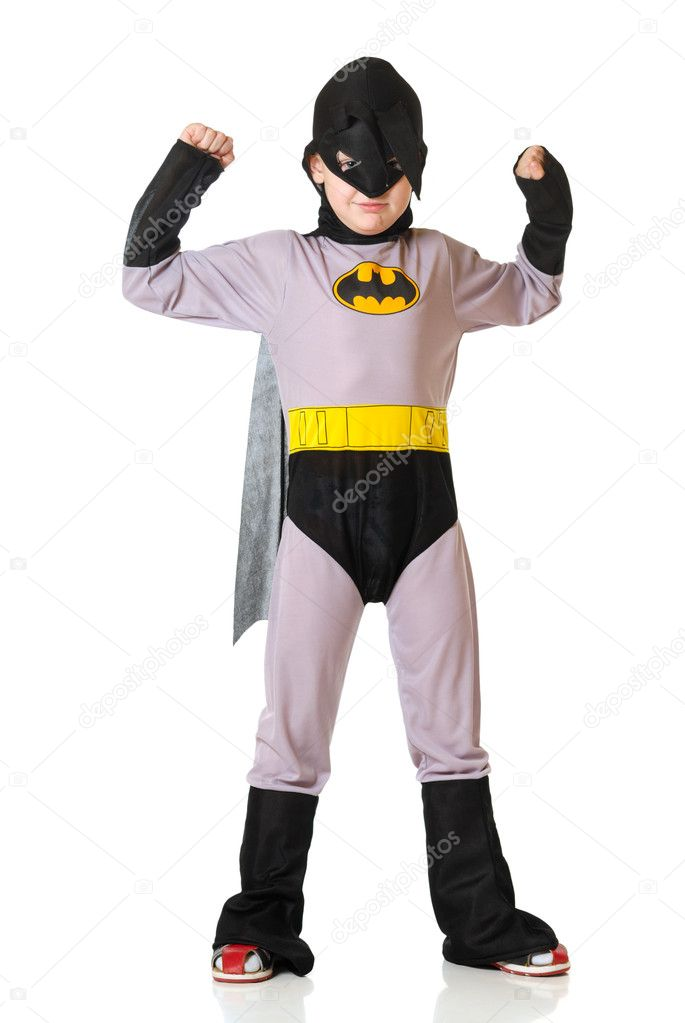 The boy in a costume of superhero on a white background — Stok fotoğraf #1640384