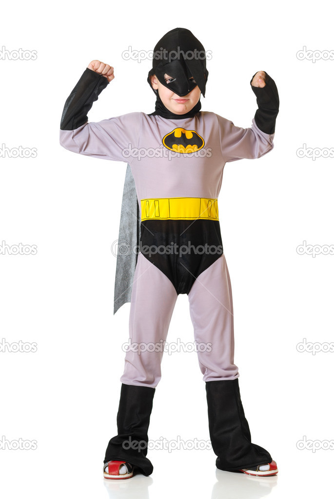 The boy in a costume of superhero on a white background  Foto de Stock   #1640384