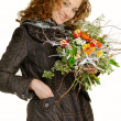 Stock Photo: Beautiful girl with bouquet flower