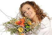 The beautiful girl with a bouquet flower — Stock Photo