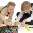 Children engaged in drawing — Stock Photo #1855262