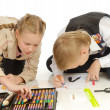 Children engaged in drawing — Stock Photo #1855282