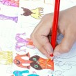 The child draws — Foto Stock