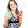 Girl with  toilletries spray — Stock Photo