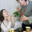 Quarrel of the girl and the woman — Stock Photo